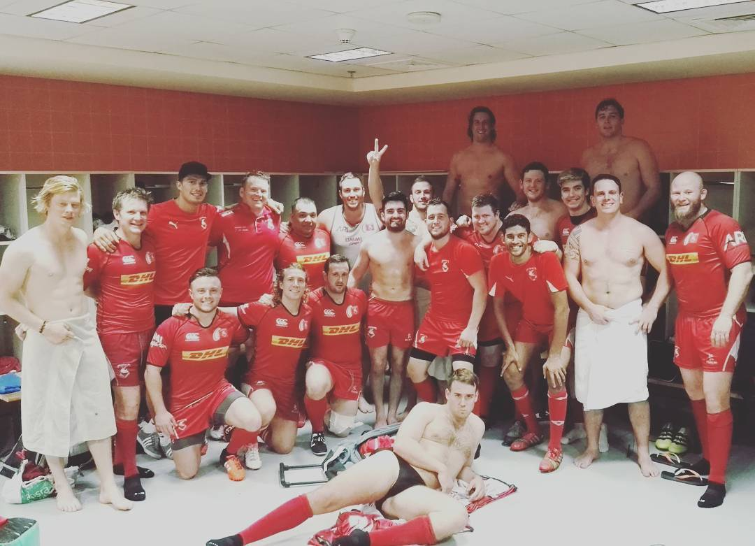 Bahrain Rugby Club celebrate win against the Dubai Sharks