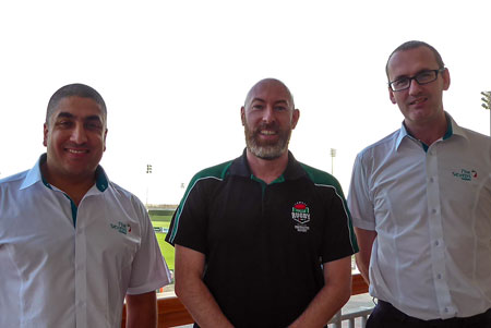 Ghaith Jalajel with Alex Johnson and Stephen McCafferty from Gulf Rugby Management